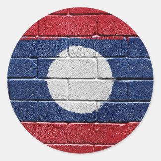 Flagga av Laos Runt Klistermärke