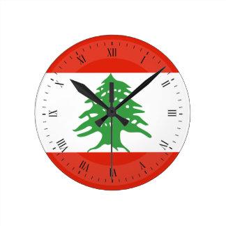Flagga av Libanon Rund Klocka