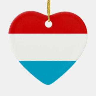 Flagga av Luxembourg Hjärtformad Julgransprydnad I Keramik