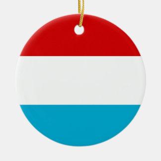 Flagga av Luxembourg Rund Julgransprydnad I Keramik
