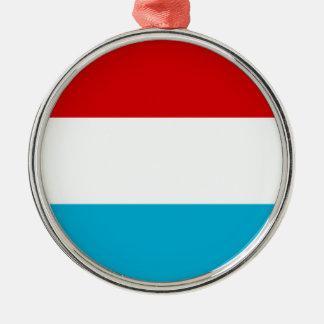 Flagga av Luxembourg Rund Silverfärgad Julgransprydnad