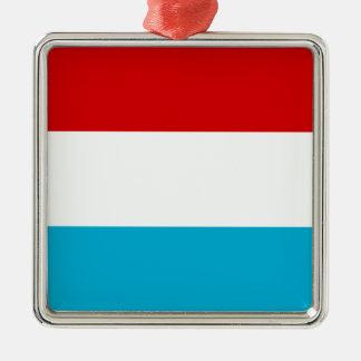 Flagga av Luxembourg Silverfärgad Fyrkantigt Julgransprydnad