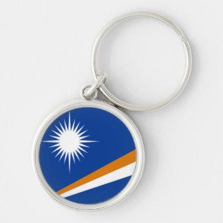Flagga av Marshallöarnan Rund Silverfärgad Nyckelring