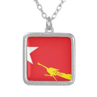 Flagga av medborgareligan för demokrati silverpläterat halsband
