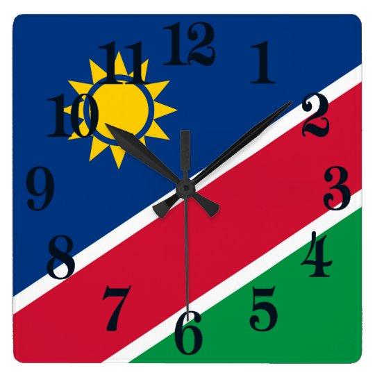 Flagga av Namibia Fyrkantig Klocka