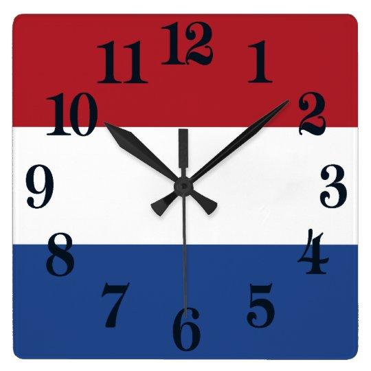 Flagga av Nederländerna Fyrkantig Klocka
