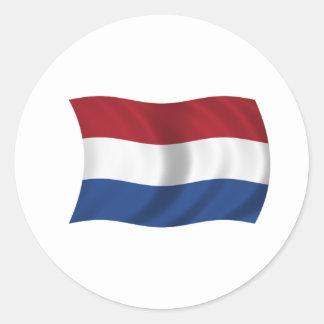 Flagga av Nederländerna Runt Klistermärke