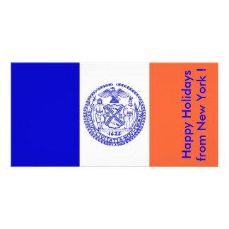 Flagga av New York, glad helg från USA Fotokort