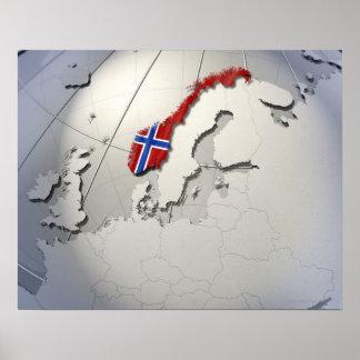 Flagga av norgen affisch
