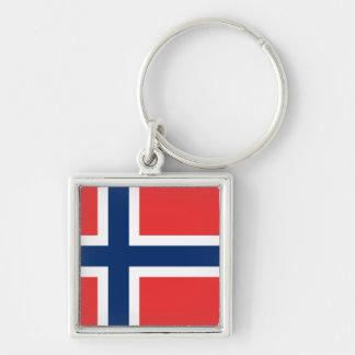 Flagga av norgen fyrkantig silverfärgad nyckelring