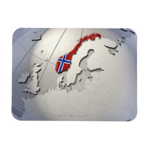 Flagga av norgen rektangulär magnet