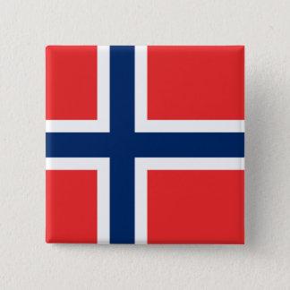 Flagga av norgen - skandinavien standard kanpp fyrkantig 5.1 cm