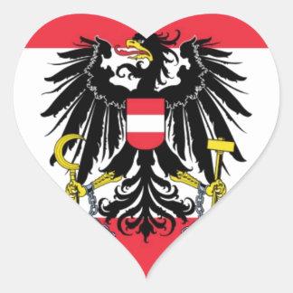 Flagga av Österrike - Flagge Österreichs Hjärtformat Klistermärke