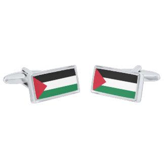 Flagga av Palestina Cufflinks Silverpläterade Manschetterknappar