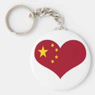 Flagga av People'set Republic of China Rund Nyckelring