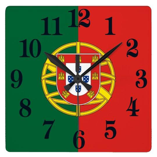 Flagga av Portugal Fyrkantig Klocka