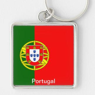 Flagga av Portugal Fyrkantig Silverfärgad Nyckelring