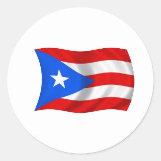 Flagga av Puerto Rico Runt Klistermärke