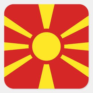 Flagga av Republiken Makedonien Fyrkantigt Klistermärke