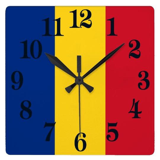 Flagga av rumänien fyrkantig klocka