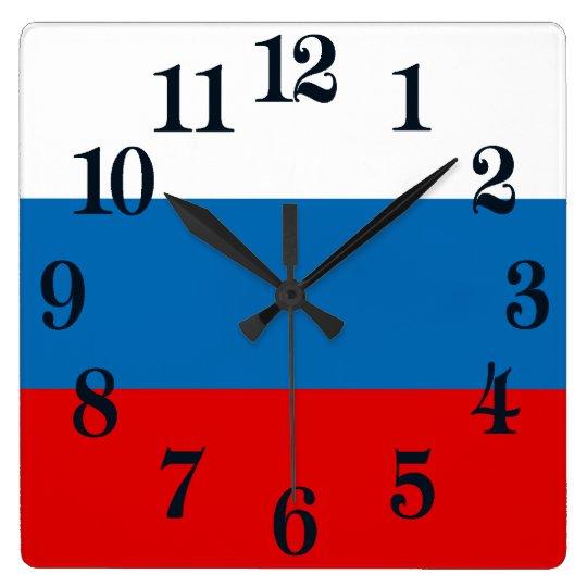 Flagga av Ryssland Fyrkantig Klocka
