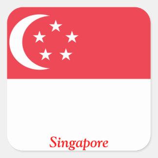 Flagga av Singapore Fyrkantigt Klistermärke