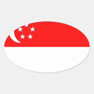 Flagga av Singapore Ovalt Klistermärke