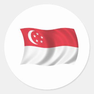 Flagga av Singapore Runt Klistermärke
