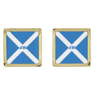 Flagga av Skottland eller Saltire Guldpläterade Manschetterknappar