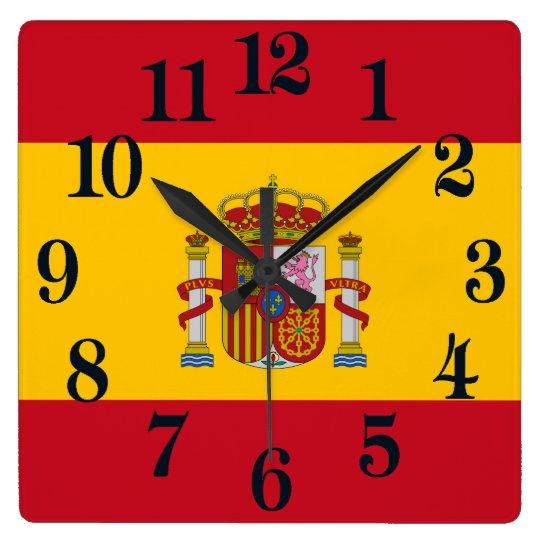 Flagga av Spanien - Bandera de Espana Fyrkantig Klocka