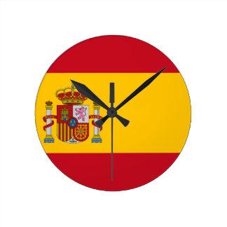 Flagga av Spanien - Bandera de España - spanjor Rund Klocka