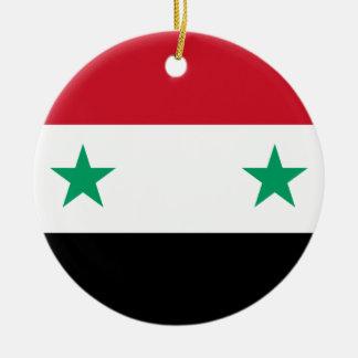 Flagga av Syrien Rund Julgransprydnad I Keramik
