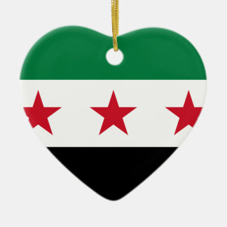 Flagga av Syrien - syriansk självständighetflagga Hjärtformad Julgransprydnad I Keramik