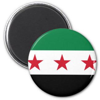 Flagga av Syrien - syriansk självständighetflagga Magnet Rund 5.7 Cm