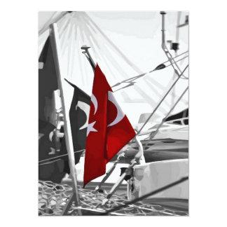 Flagga av Turkiet - selektiv färgläggning 14 X 19,5 Cm Inbjudningskort