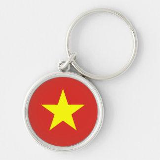 Flagga av Vietnam Rund Silverfärgad Nyckelring