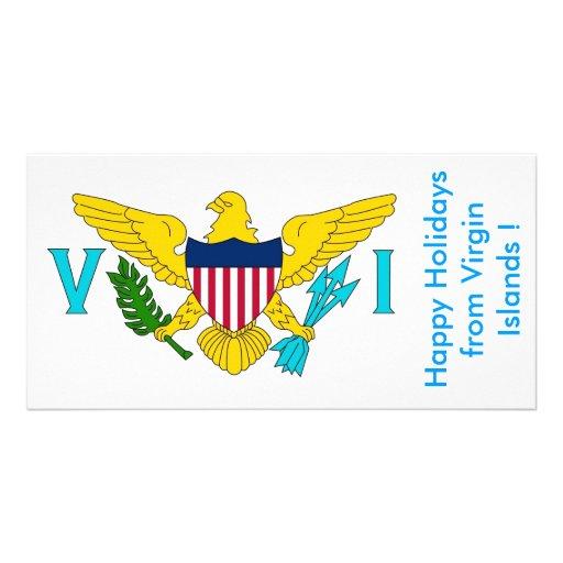 Flagga av Virgin Islands, glad helg från USA Skräddarsydda Fotokort