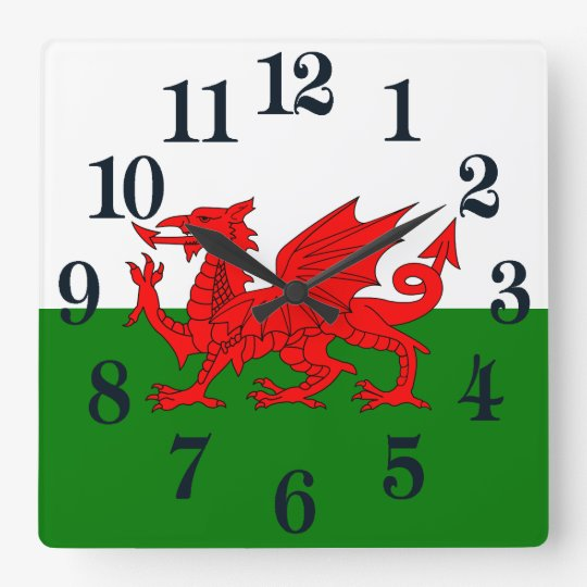 Flagga av Wales Fyrkantig Klocka