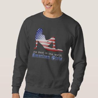 Flagga för amerikanflickaSilhouette Långärmad Tröja