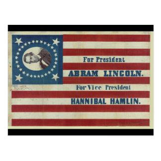 Flagga för baner för Abraham Lincoln Vykort