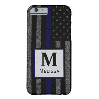 Flagga för blålinjen för MonogramGrunge tunn Barely There iPhone 6 Skal