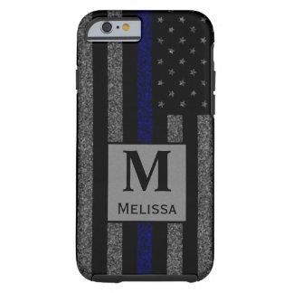 Flagga för blålinjen för MonogramGrunge tunn Tough iPhone 6 Skal