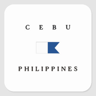 Flagga för Cebu Philippines alfabetiskdyk Fyrkantigt Klistermärke