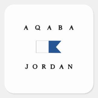 Flagga för dyk för Aqaba Jordanienalfabetisk Fyrkantigt Klistermärke