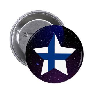 Flagga för Finland stjärnadesign Standard Knapp Rund 5.7 Cm