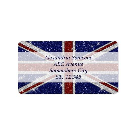 Flagga för jack för skina gnistra för glitter adressetikett