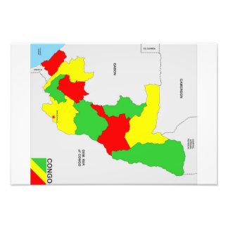 flagga för karta för congo land politisk fototryck