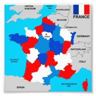 flagga för karta för frankrikeland politisk fototryck