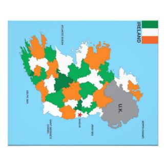 flagga för karta för ireland land politisk fototryck