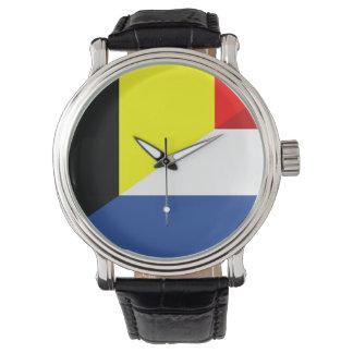 flagga för land för netherlandBelgien flagga halv Armbandsur